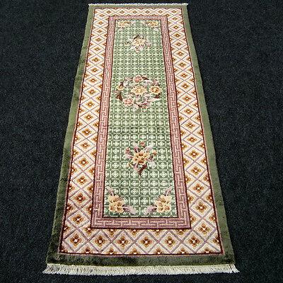 Orient Teppich China 150 x 60 cm Läufer Grün Seidenteppich Silk Runner Rug Green