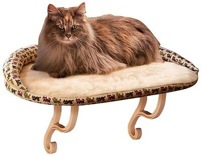 "New Kitty Cat Sill Deluxe Bolster Bed 14"" X 24"" Tan Print Window Perch Cuddle"