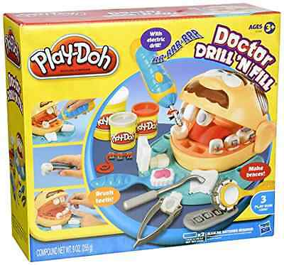 New ! Play Drill Doh Fill N Doctor Set Dentist Playset Kids Dr Toy Playdoh Clay