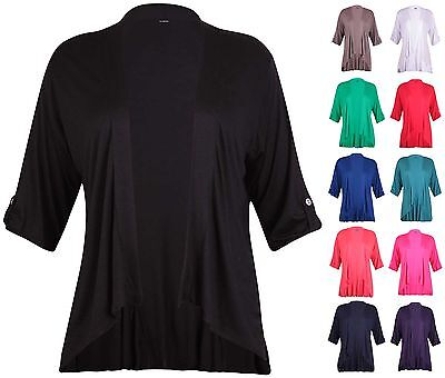 Womens Plus Size Turn Up Sleeve Ladies Stretch Collared Button Open Cardigan Top