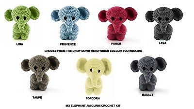 Hoooked DIY Amigurumi Crochet Kit Elephant Eco Barbante Choice Of Colours