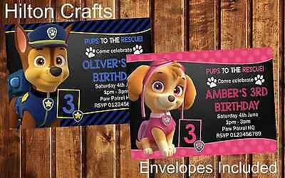 Paw Patrol Party Invites Personalised Birthday Invitations x12 with envelopes