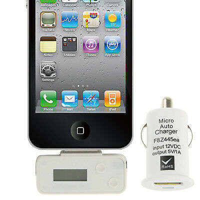 NUOVO White FM Transmitter with Car Charger , For iPhone, Galaxy, Sony, Lenovo,