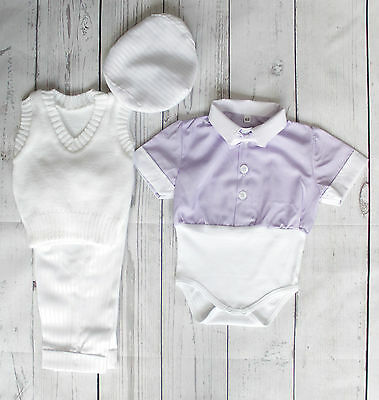 Baby Boy Christening Summer Outfit Baptism Formal Party  Short Sleeve 0-18 M