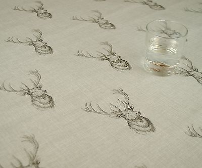 Highland Stag Head Grey Vinyl Wipe Clean Pvc Tablecloth