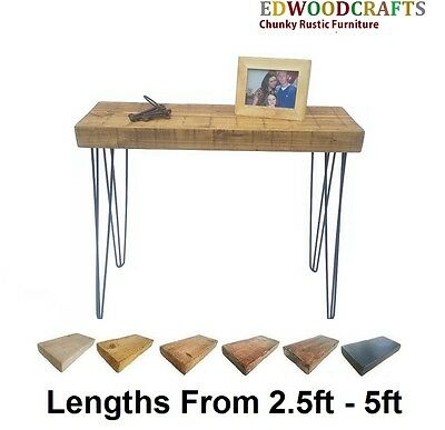 Console Table Hallway Wooden Side Table Steel Hairpin Legs Chunky Pine 12X3.