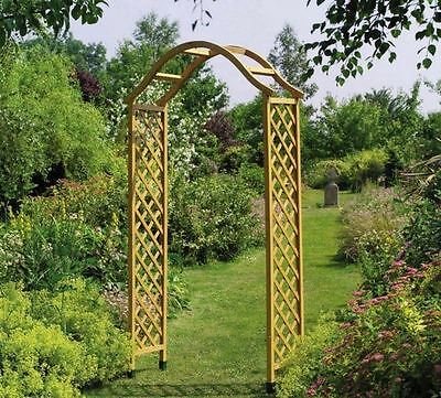 Sturdy Wooden Garden Arch Curved ELEGANT Trellis Strong Climbing Plants Flowers
