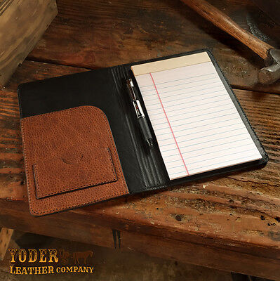 Brown or Black Amish Handmade Cowhide Leather Notebook Portfolio Case Organizer