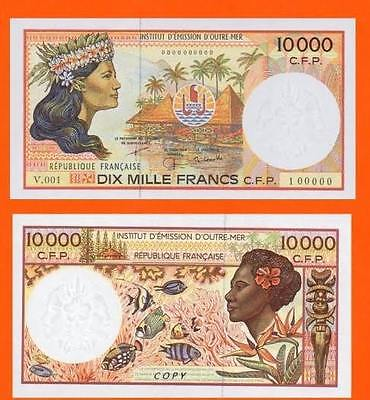 French pacific terr.10 000 Francs. UNC - Reproduction
