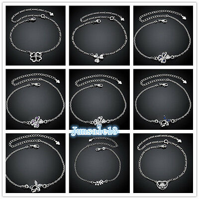 Elegant S925 Solid  Silver Womens Foot Feet Chains Ankle Bracelet Charms Gift