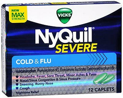 Vicks 44 Nyquil Severe Cold and Flu Caplets, 12 Count