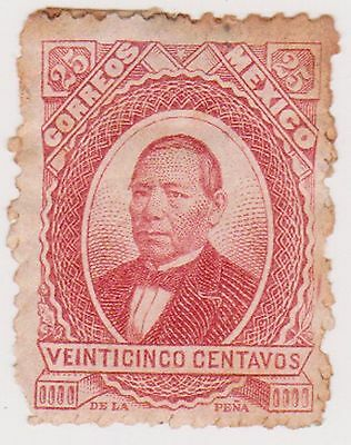 (MCO-23) 1879 Mexico 25c red JUAREZ mint gum (toning)