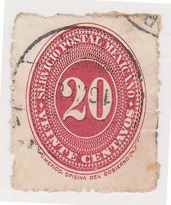 (MCO-52) 1886 Mexico 20c red (B) $3.00