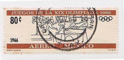 (MCO-381) 1966 Mexico 80c black & orange air (A)