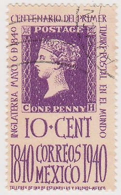 (MCO-257) 1940 Mexico 10c purple first stamp (A)
