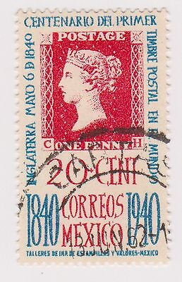 (MCO-264) 1940 Mexico 20c red & blue 1st stamps (C)