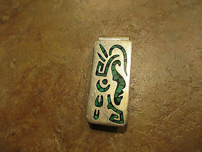 Vintage TAXCO Sterling Silver Inlay Turquoise Money Clip