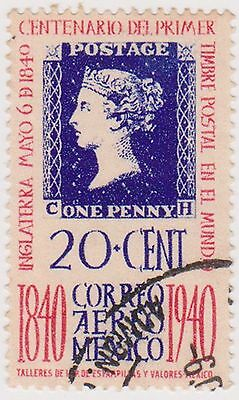 (MCO-261) 1940 Mexico 20c blue &red 1st stamps (B)