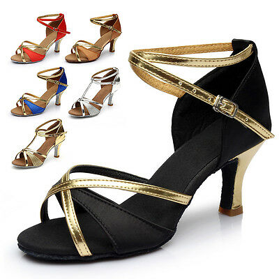 4a2979fde76 NEW LADY BALLROOM Latin Tango Salsa Dance Shoes heeled Best Black Red  Comfort