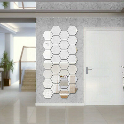 12pcs 3D Mirror Hexagon Vinyl Removable Wall Sticker Decal Home Decor Art DIY N