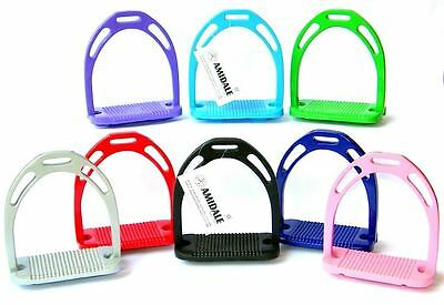 "Horse Riding Stirrups Equestrian Light Weight Aluminum 8 Colors 4.75"" Amidale"