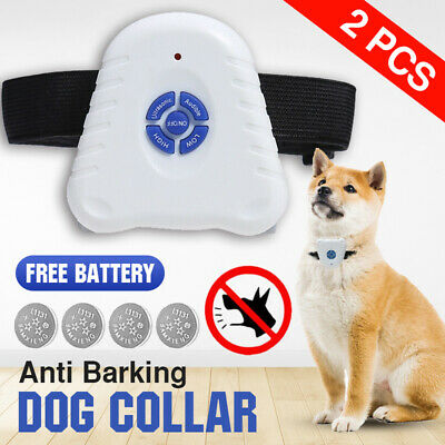 Bark Stop Pet Dog Training Collar x2 Ultrasonic Anti Barking Control Waterproof
