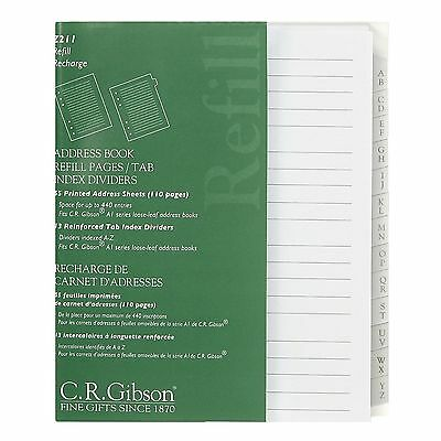 C.R. Gibson Refillable Address Books Refill Pages / Tab Index Divider Z211