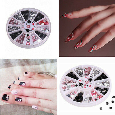3D Nail Art Tips gems Crystal Glitter Rhinestone 3 COLORS DIY Decoration + Wheel