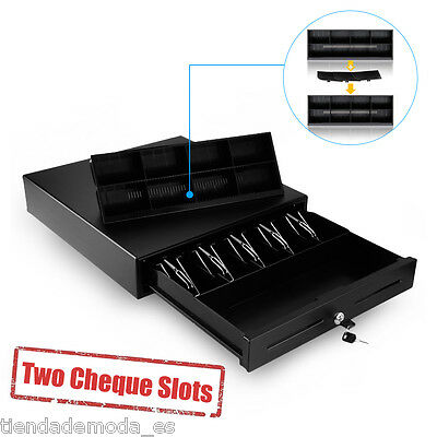 Excelvan Black Heavy Duty Cash Drawer With 5 Bills 8 Coins 2 Cheque Slots Tray