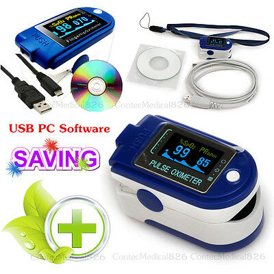 US Sell, Pulse Oximeter USB SPO2 Pulse 24Hours Blood Oxygen Recorder PC Software