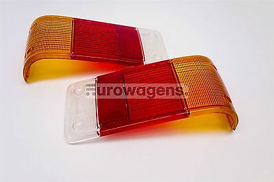 Ford Escort MK2 75-80 Orange Red Clear Rear Lenses Set Pair with Reverse Light