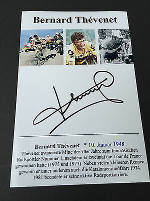 BERNARD THEVENET     2 x TOUR DE FRANCE winner 1975/77  signed  Photo 10x15