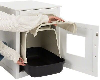 Multi Purpose Wooden Pet Den Cat Litter Tray Hide - White