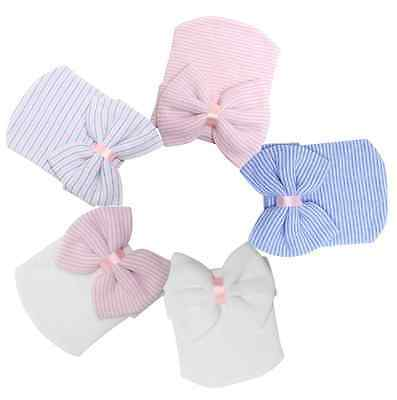 Cute Big Bow Cotton Knit Hospital Baby Girl Hat 5 Design To Choose From