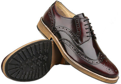 Mens Roamers Oxblood Leather Lace Up Formal Brogue Shoes Size 6 7 8 9 10 11 12
