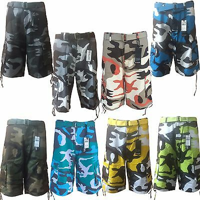 Men's Army Camouflage Cargo Cotton Casual Shorts with Belt Sizes 30,32,34,36 38