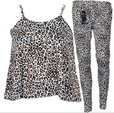 GIRLS Kids Leopard Camisole vest top T-shirt legging crop top out fit sleeveless