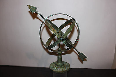 (AA-10021) Armillary Sundial-Faux, Brass, Verdigris Finish, Stationary, NOS