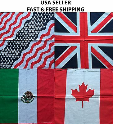 "100% Cotton 22"" USA America Mexico Canada UK England Flag Bandana Scarf"