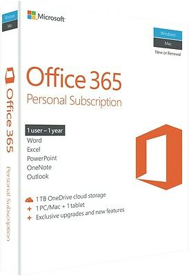 NEW Microsoft QQ2-00645 Office 365 Personal 2016 1yr Subscription