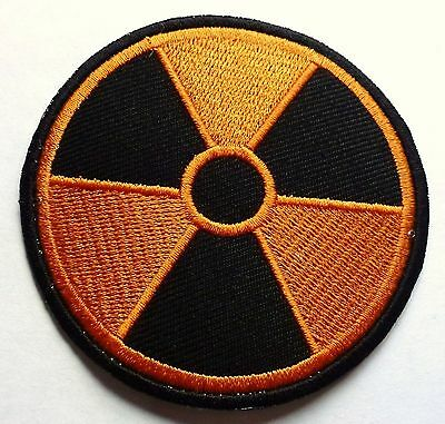 RADIATION RADIOACTIVE NUCLEAR SEW OR IRON ON BIKER MOTORCYCLE PATCH 75mm x 75mm