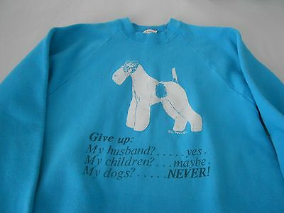 Wire Haired Fox Terrier vintage sweatshirt, size large, turquoise