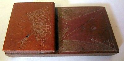Vtg Native American Indian Carved Pipestone Book Paperweight Chief Teepee Signed
