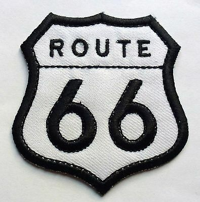 HIGHWAY ROUTE 66 - SEW OR IRON ON BIKER MOTORCYCLE PATCH 70mm x 75mm