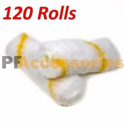 "120 Rolls 4"" inch Mini Paint Roller Covers Refill Gold Stripe Soft Woven 1/2 Nap"