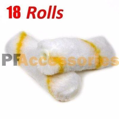 "18 Rolls 4"" inch Mini Paint Roller Covers Refill Gold Stripe Soft Woven 1/2"" Nap"