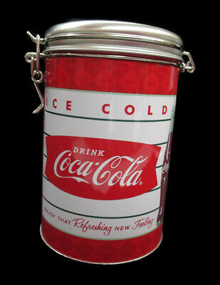 Coca-Cola Round Tin Tea Canister Container Latching Lid Fish Tail Emblem NEW