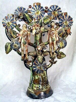 Large Vintage Adam & Eve Tree of Life Candelabra, Fine Metepec Mexican Folk Art
