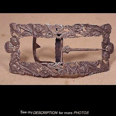 Large 1908 Ornate Dutch Sterling Silver Belt Buckle Floral