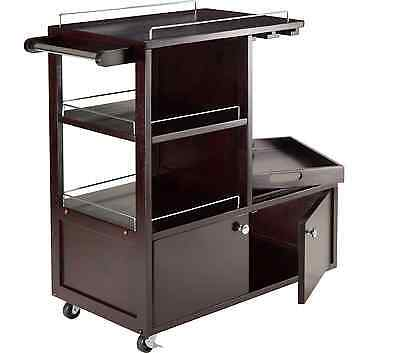 Galen Entertainment Rolling Serving Bar Cart with Tray, Glass Storage, Wine Rack